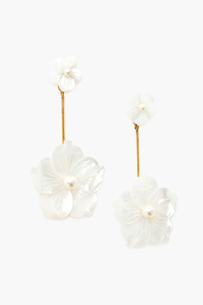 Mother of Pearl Zinnia Flower Earrings
