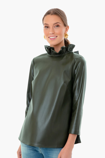 green leather faye blouse
