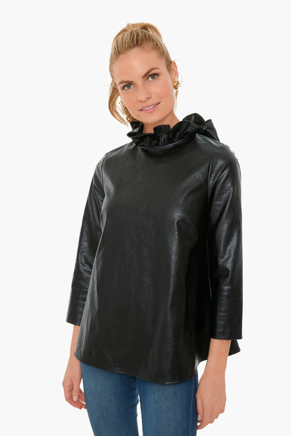 black leather faye blouse