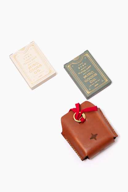 leather travel card case with dual premium playing decks