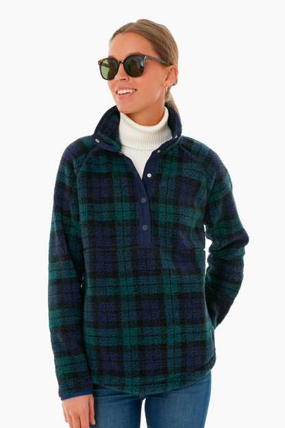 blackwatch sherpa snap-placket pullover