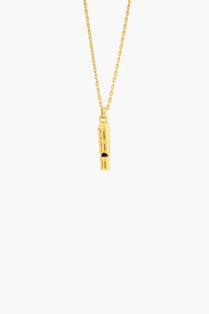 gold bamboo whistle charm