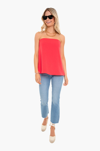 strapless poppy red crepe marin top