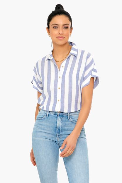 marline stripe short sleeve nerd shirt