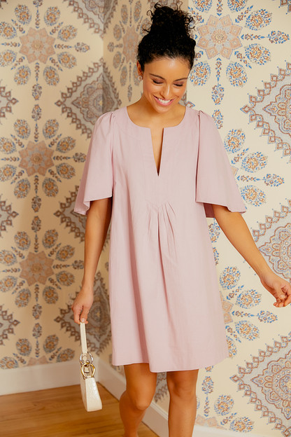 lilac finley flutter sleeve dress