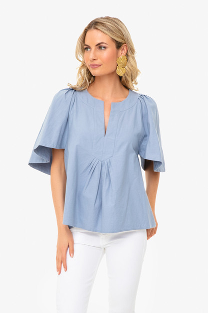 dusty blue finley flutter sleeve top