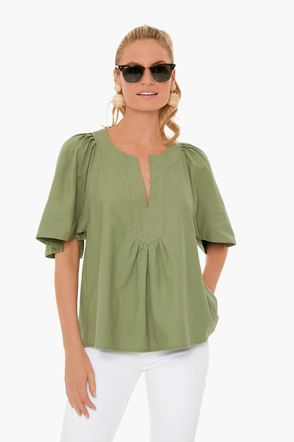 Sage Green Finley Flutter Sleeve Top