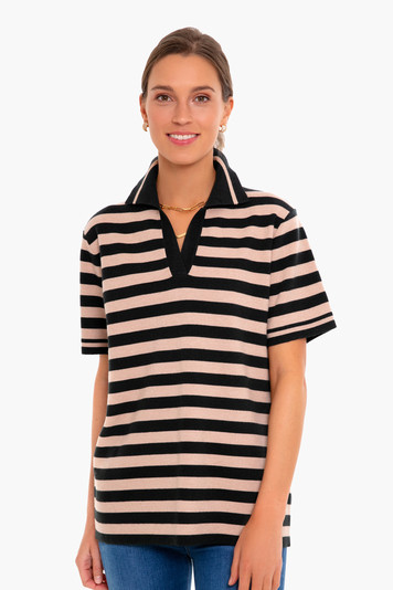 rugby stripe knit polo