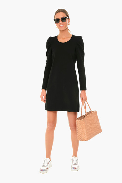 black collins puff sleeve dress