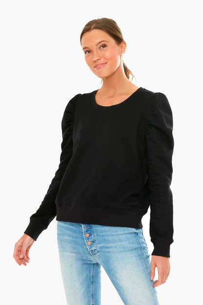 black blair puff sleeve popover