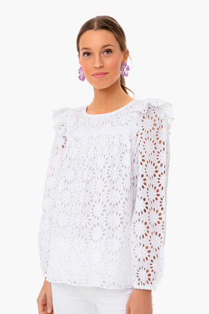 white long sleeve eyelet top