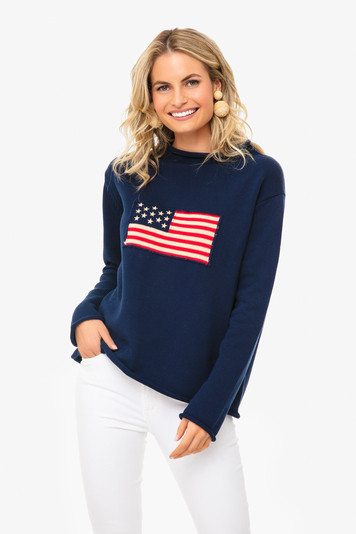 navy americana sweater