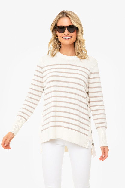 latte bar harbor striped sweater