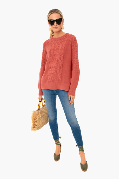 nantucket red cotton cable charles sweater