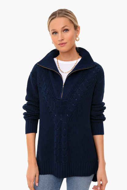 navy quarter zip estella sweater