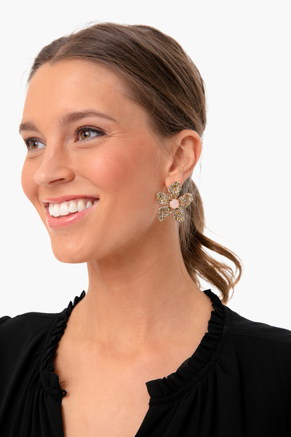 rose pave earrings
