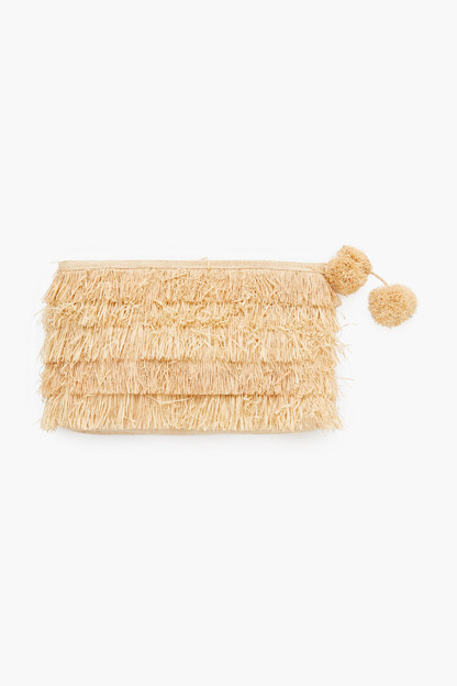 natural sasha fringe clutch