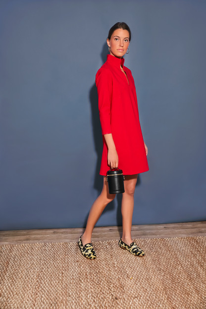 red ponte clifton dress