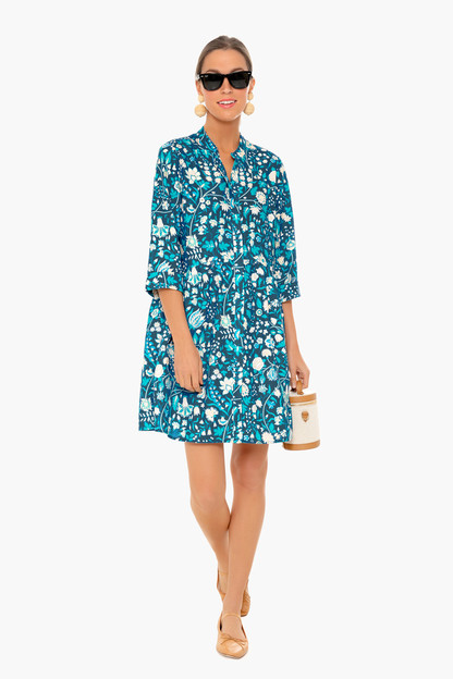 santorini bloom royal shirt dress