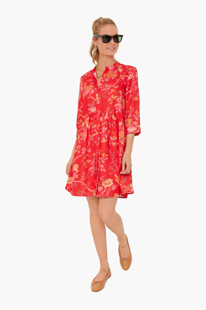 vida de las flores royal shirt dress