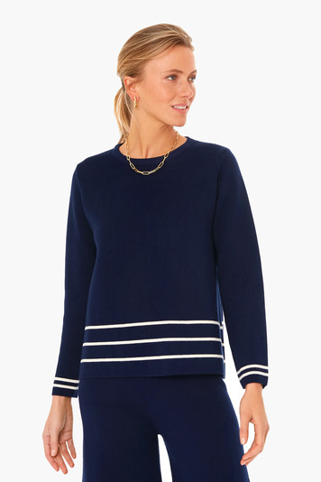navy olympia knit top