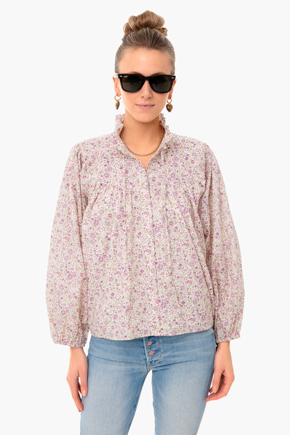 purple calico floral cecile blouse