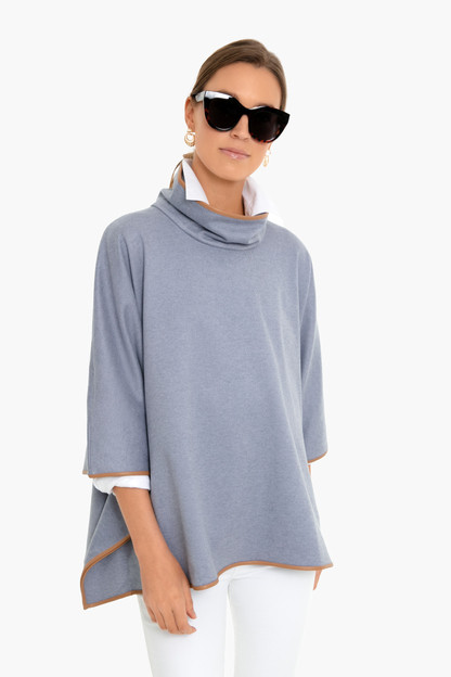 slate blue leather trim funnel neck piper poncho