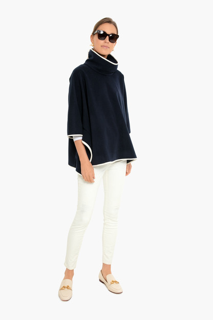 navy leather trim funnel neck piper poncho