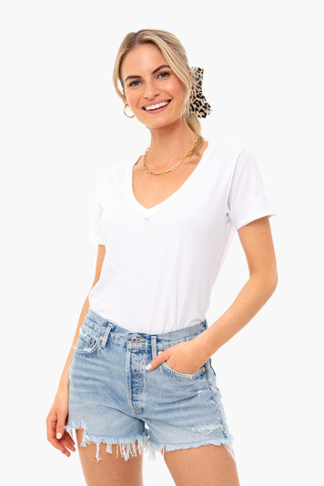 white organic cotton v neck tee