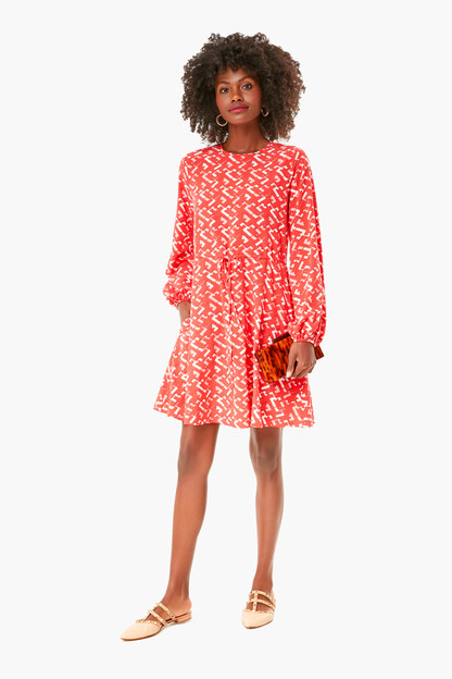 red chain colette tie front dress