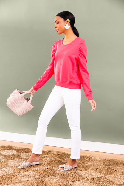 hot pink blair puff sleeve popover