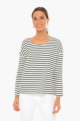 navy striped emery long sleeve tee