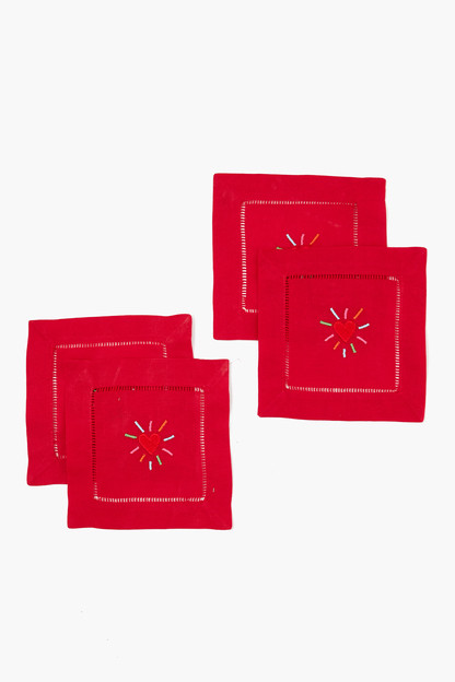 red hearts cocktail napkins (set of 4)