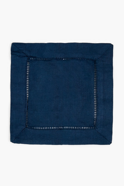 navy hemstitched cocktail napkin