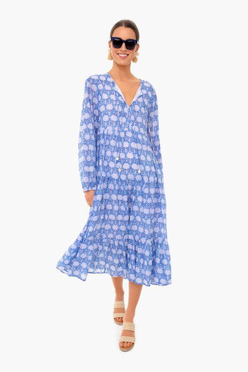 kerachi blue long sleeve midi dress