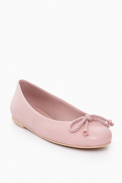 nude rope bow ballet flats