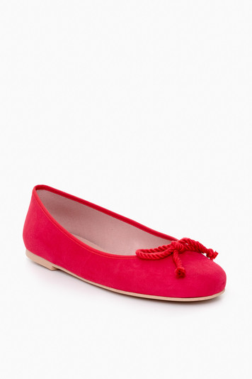 red rope bow ballet flats
