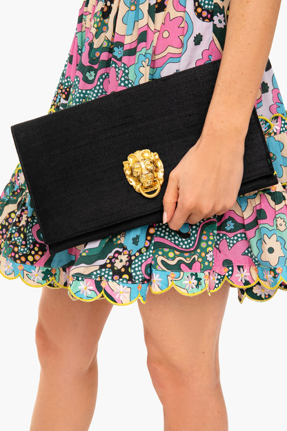 black dupioni silk clutch