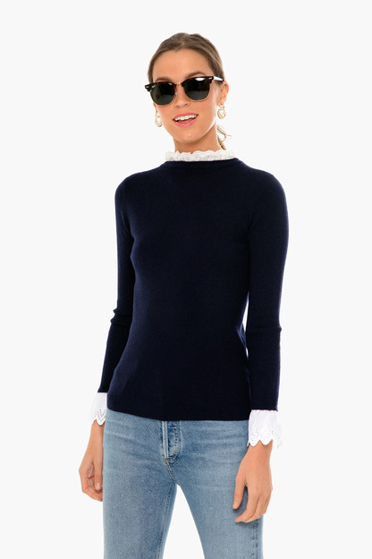 Navy Rosemary Eyelet Knit Top