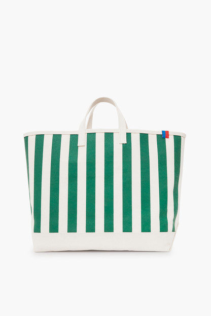 the all over striped green tote
