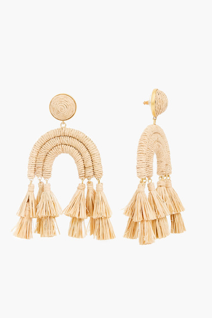 raffia archer earrings