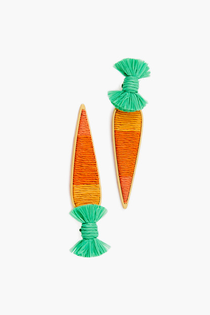 raffia carrot earrings
