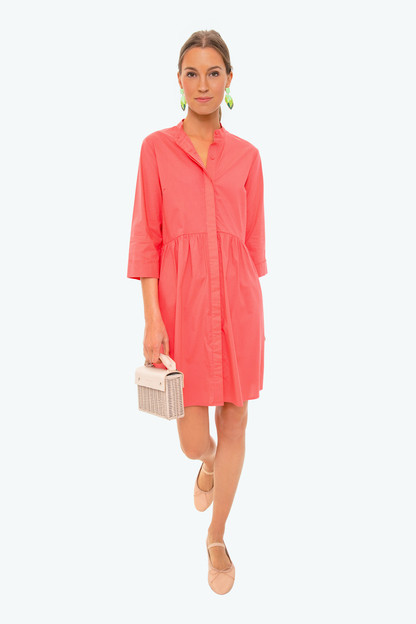 poppy pink royal shirt dress