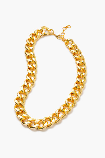 gold flat chain link necklace
