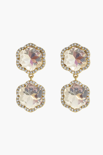 pave crystal flower drop earrings
