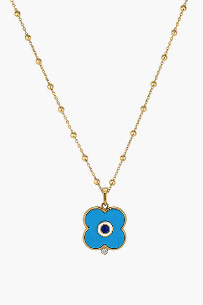turquoise evil eye necklace on florence chain