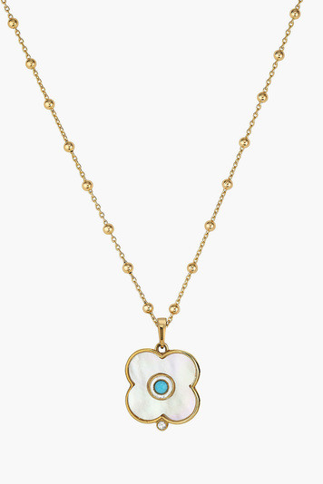 mother of pearl evil eye necklace on florence chain