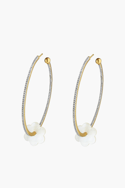 gold pave flower hoop la earrings