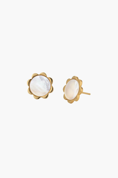 mother of pearl petite flower studs