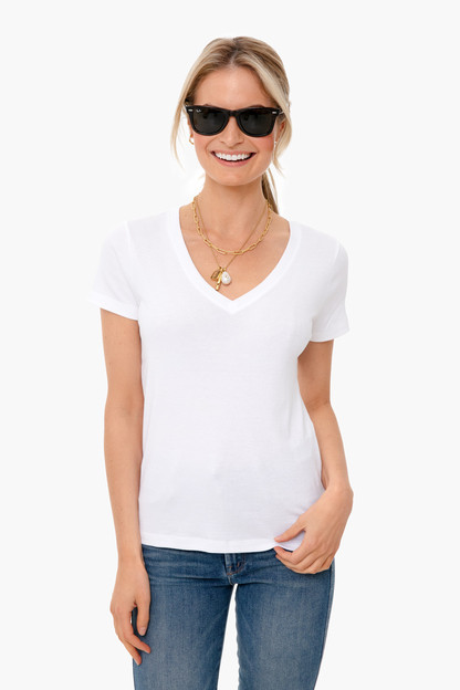 white cap simple v-neck tee